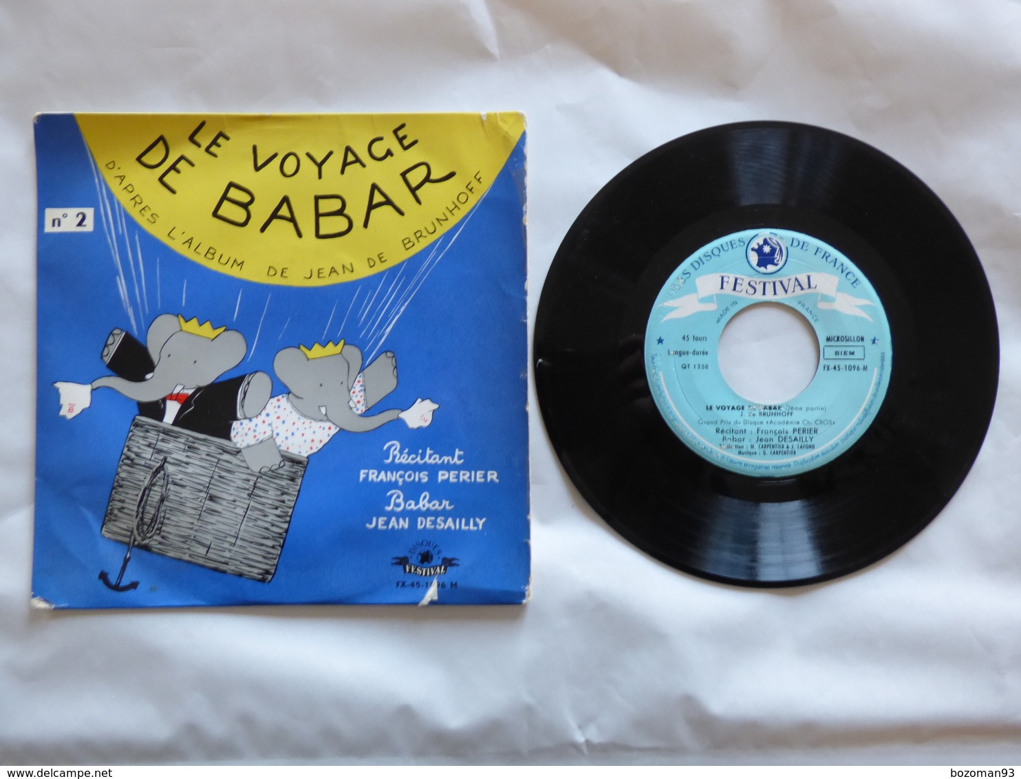 B.O.F LE VOYAGE DE BABAR  Sous Label FESTIVAL FX 45-1096 M - Soundtracks, Film Music