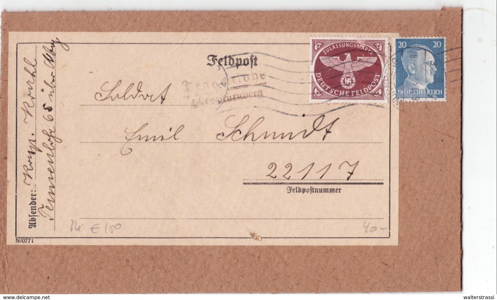 Feldpost Päckchen Vorderseite, Tennenlohe über Nürnberg - Deutschland