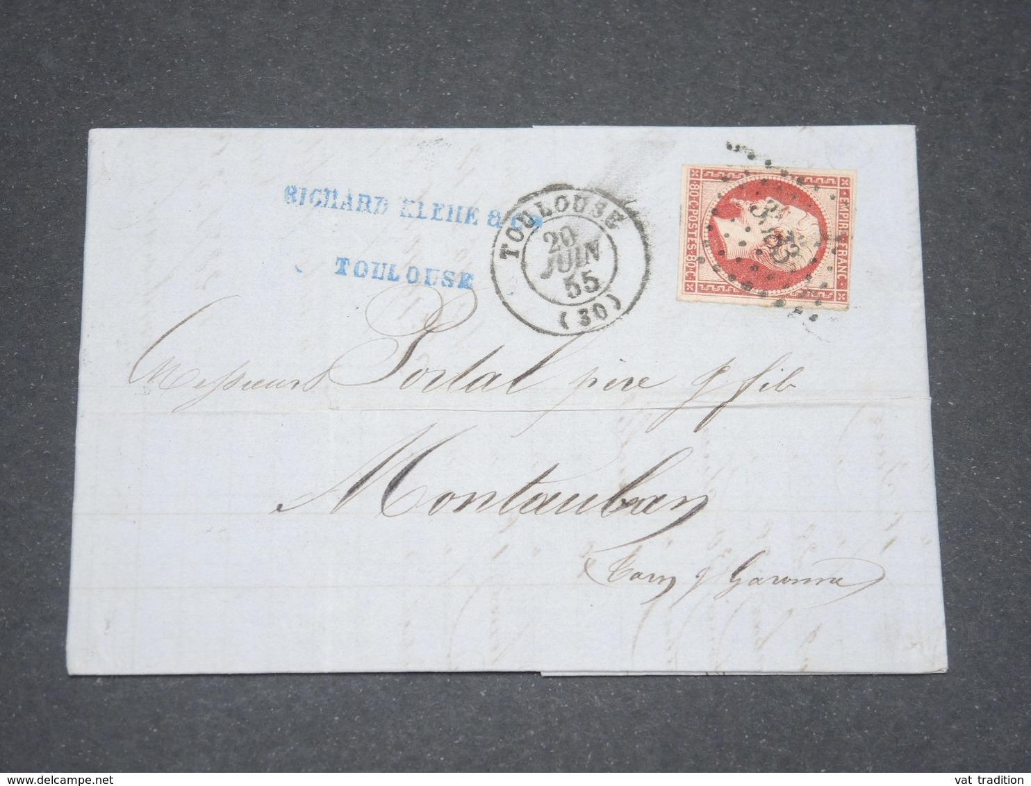 FRANCE - Lettre De Toulouse Pour Montauban En 1855 , Affranchissement Napoléon 80c - L 13253 - Marcophilie (Lettres)