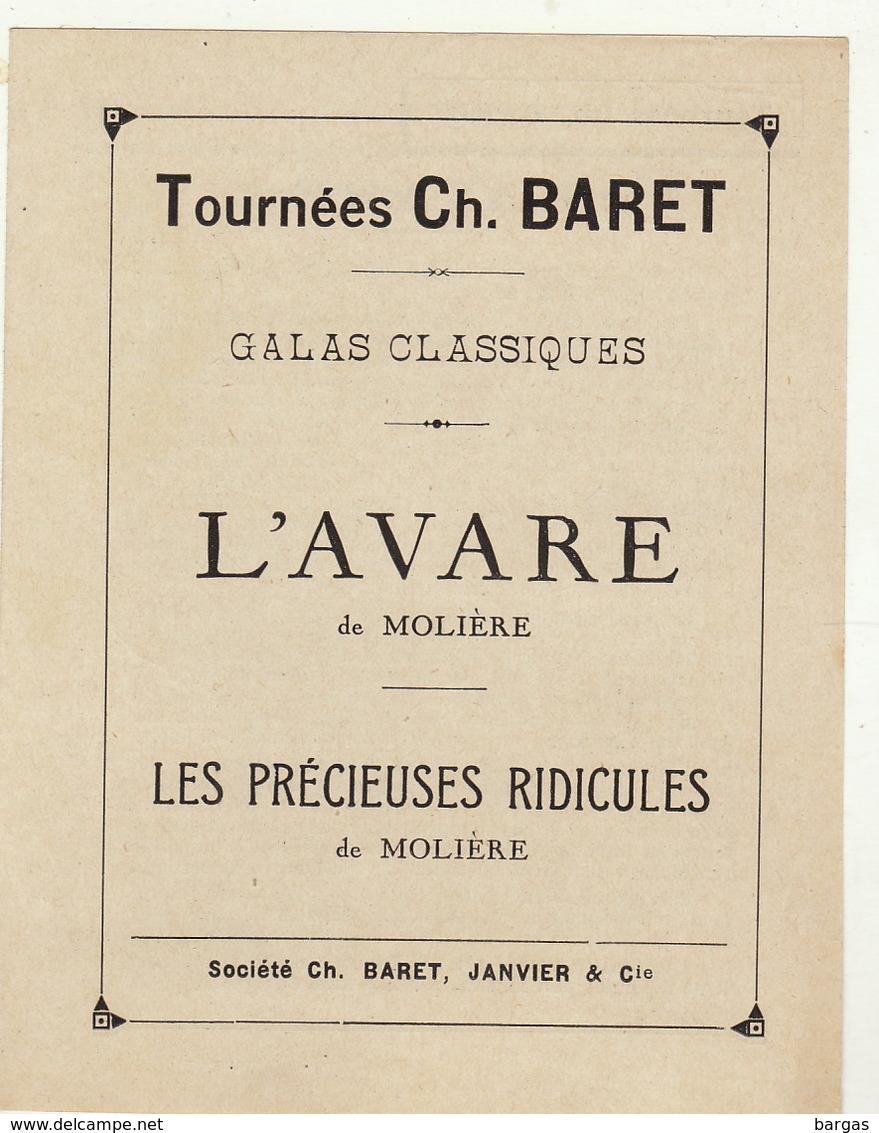 Programme De Théâtre TOURNEES CH. BARET L'avare Précieuses Ridicules De Molière - Programme
