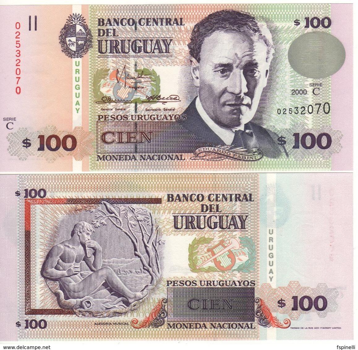 URUGUAY  100 Pesos Uruguayos    P76b   Dated 2000   UNC - Uruguay