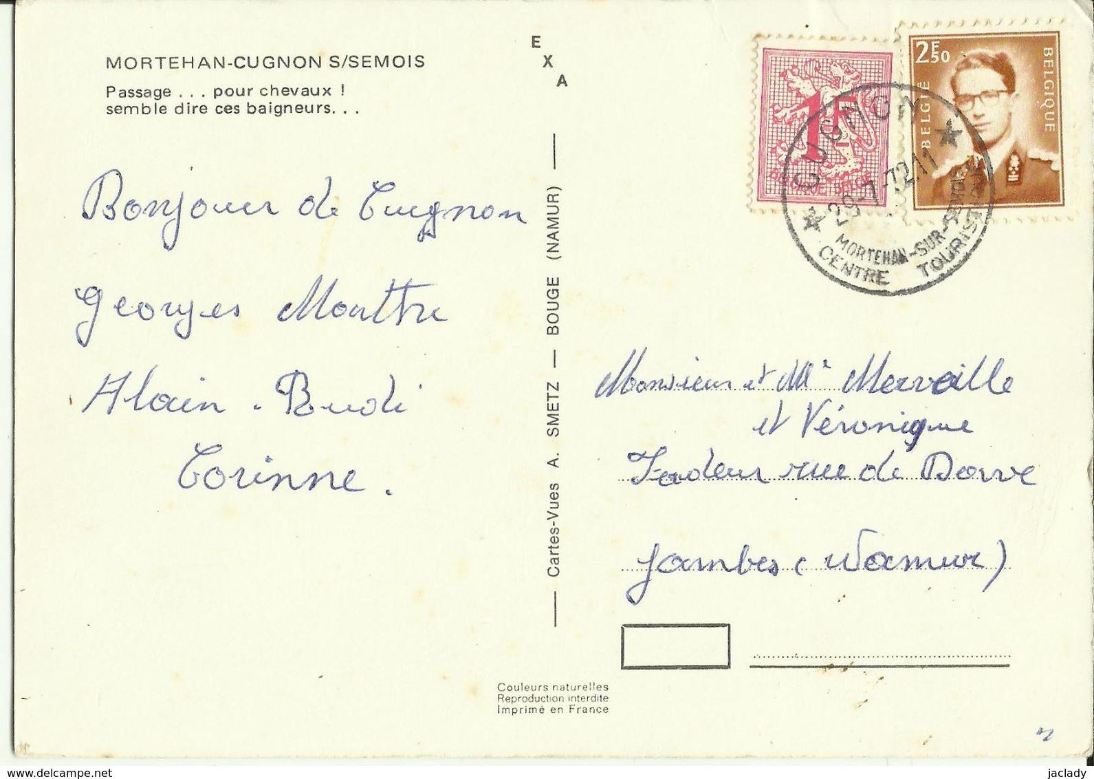 Mortehan - Cugnon S/ Semois -- Passage Pour Chevaux ! Semble Dire Ces Baigneurs.  ( 2 Scans ) - Bertrix