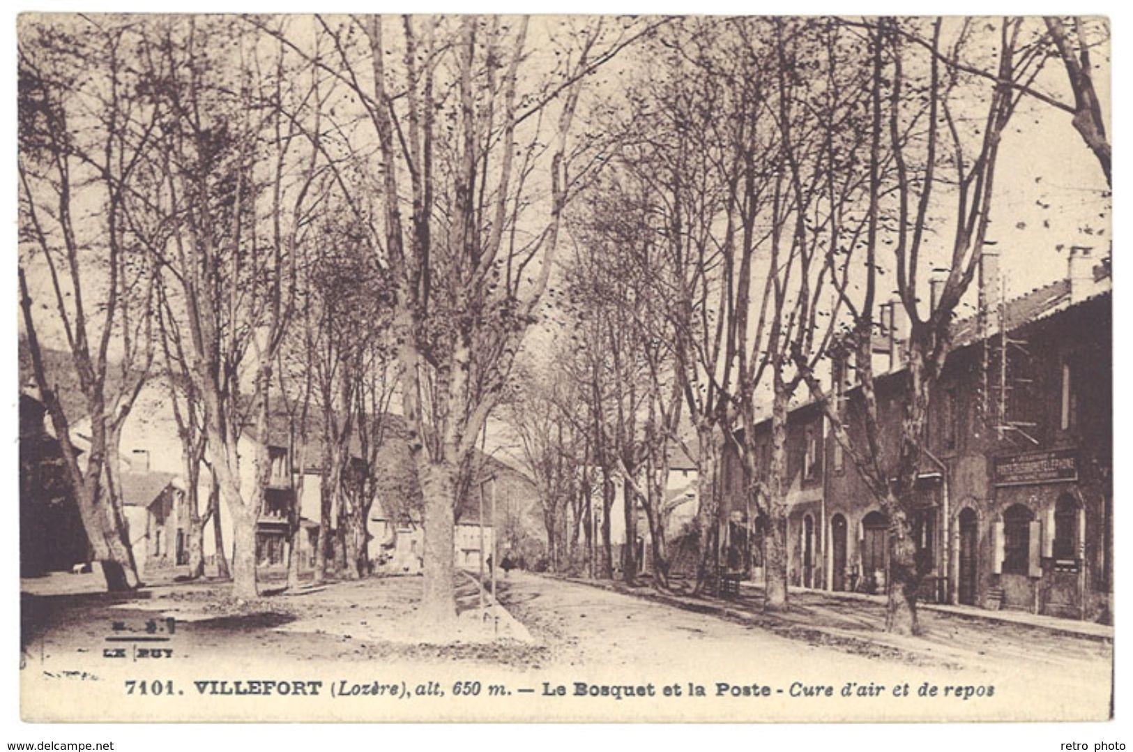 Cpa Villefort - Le Bosquet Et La Poste ... - Villefort