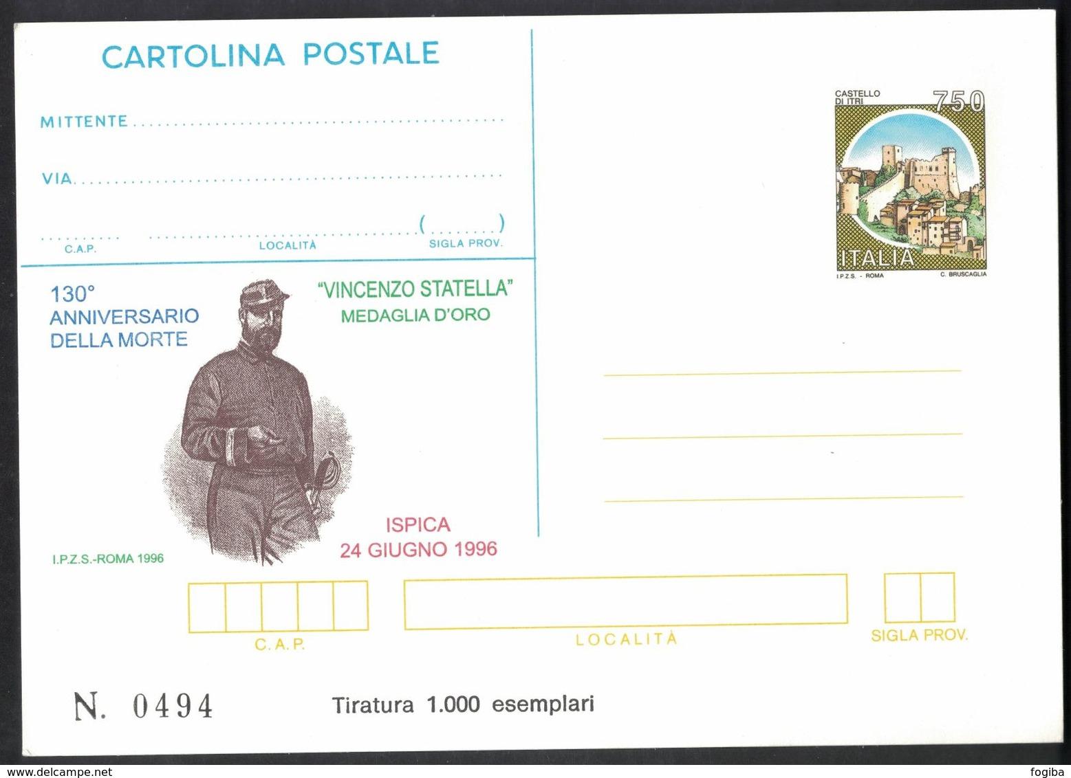 Z160  CARTOLINA POSTALE Ispica 1996 - Vincenzo Statella Medaglia D'Oro - Tiratura Limitata - 6. 1946-.. Repubblica