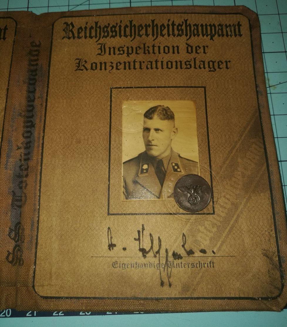 WW2 German, Nazi, SS Totenkopfverbande Buchenwald KZ Wachter, ID, Document Auswies, Not Original - 1939-45