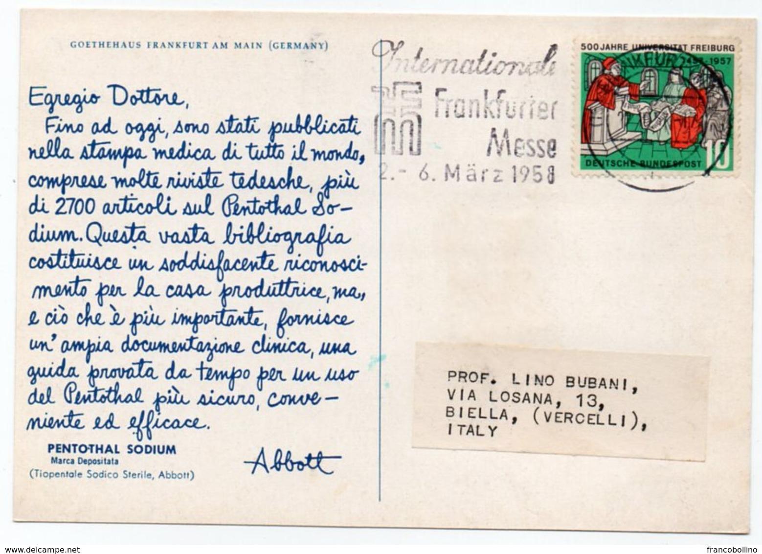 DEAR DOCTOR TYPE PUBL. PENTOTHAL SODIUM / ABBOTT - GERMANY GOETHEHAUS FRANKFURT AM MAIN - Salute