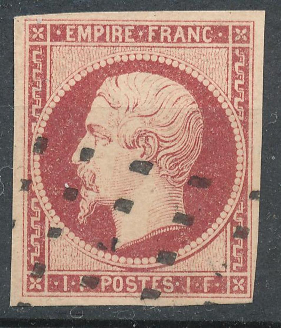N°18 CARMIN FONCE OBLITERATION GROS POINTS 1er CHOIX. - 1853-1860 Napoleon III