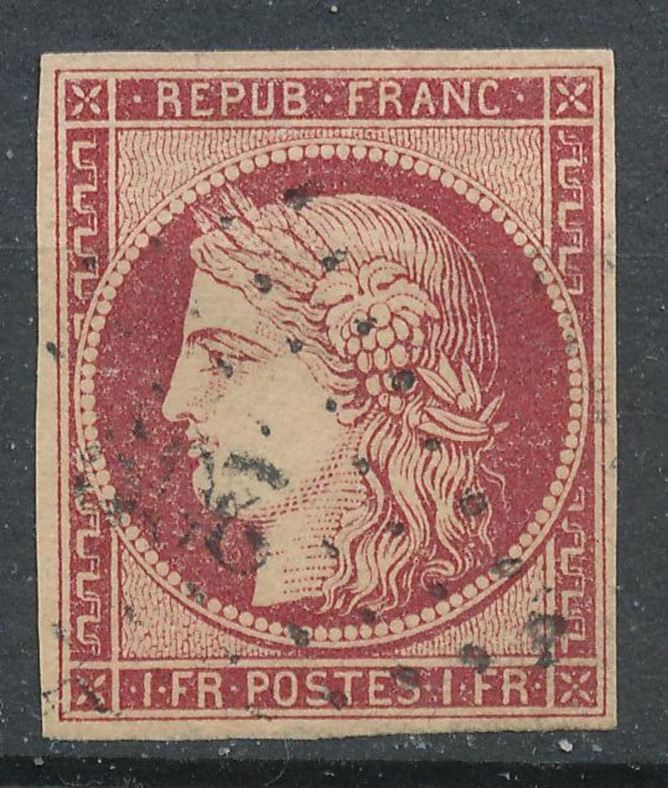 N°6 CARMIN FONCE LOSANGE PETITS CHIFFRES 1er CHOIX - 1849-1850 Ceres