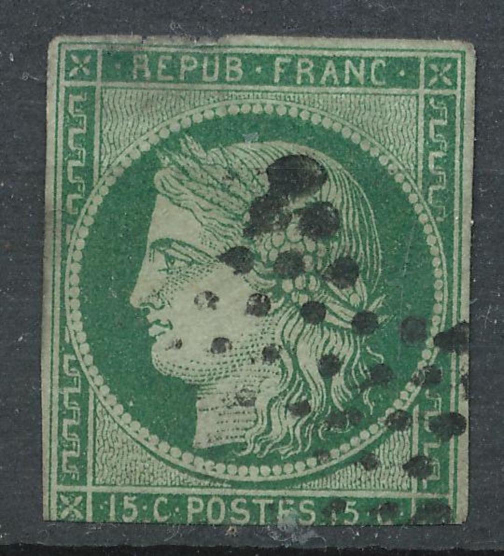 N°2 VERT FONCE OBLITERATION ETOILE. - 1849-1850 Ceres