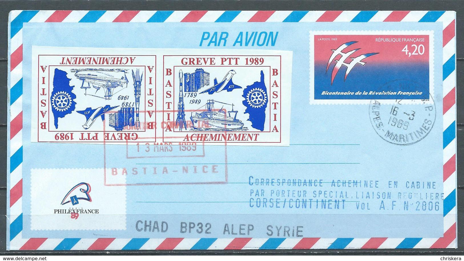 France Aérogramme Timbres De Grève Bastia YT N°1017-AER Révolution - Grève