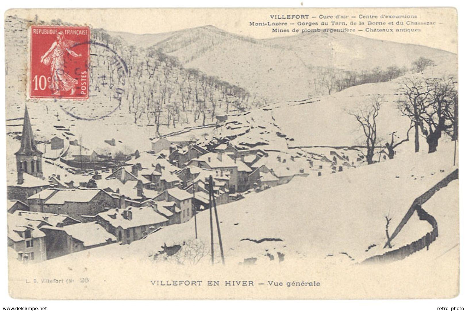 Cpa Villefort En Hiver - Vue Générale - Villefort