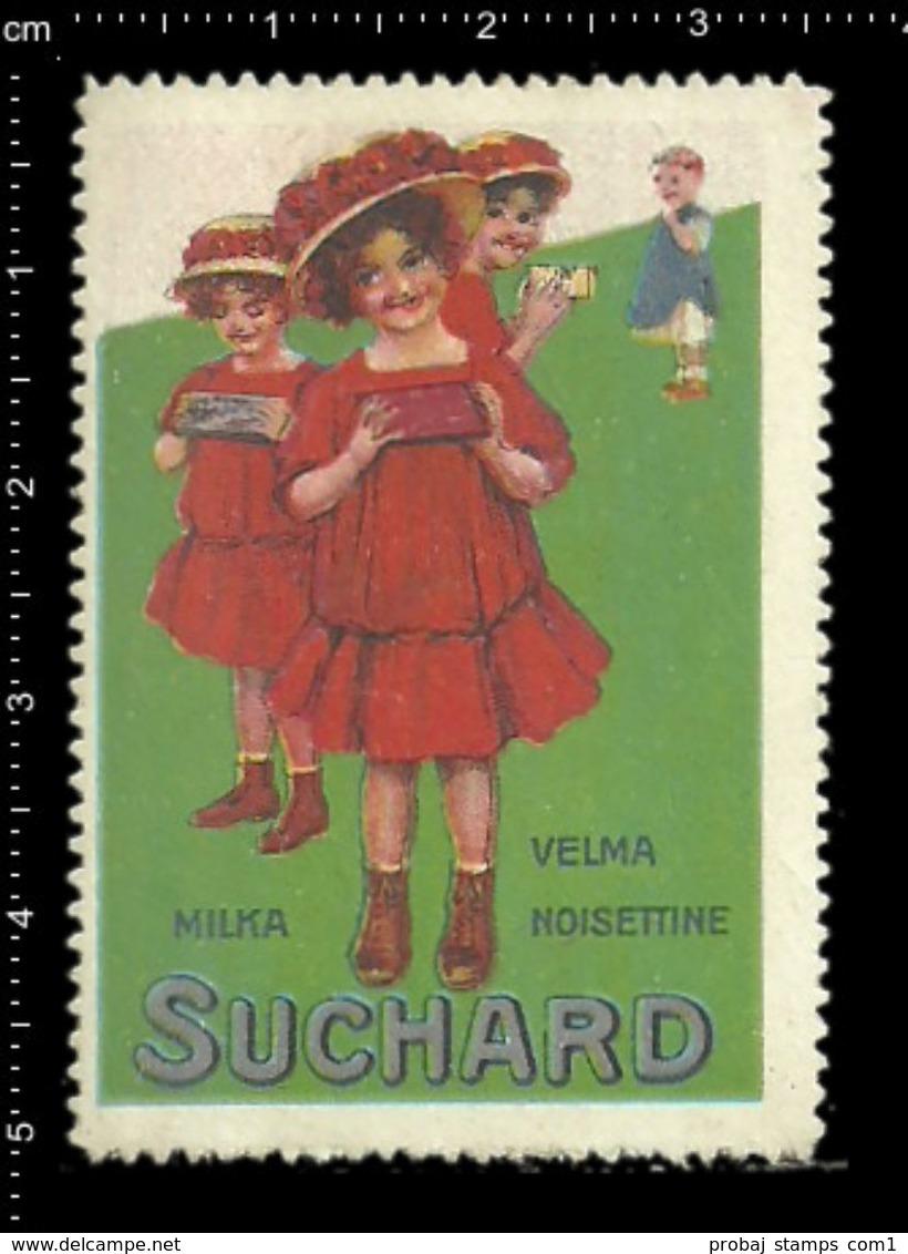German Poster Stamp, Reklamemarke, Cinderella, Cacao Suchard, Velma, Milka, Chocolade, Schokolade. - Food