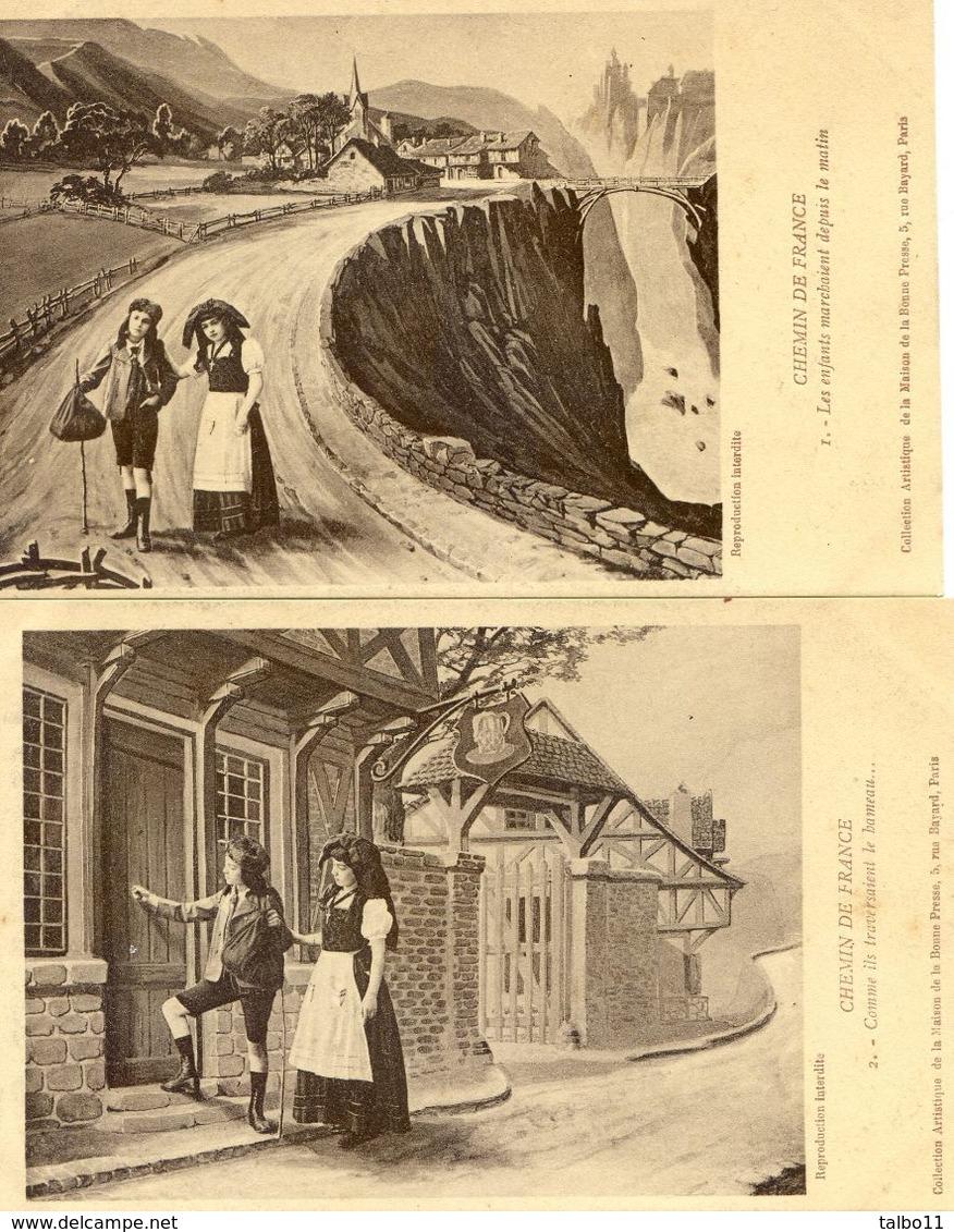 Militaria - Patriotique - Chemin De France Lot De 6 Cartes - Mesaventure D'enfants Alsaciens - Oorlog 1914-18