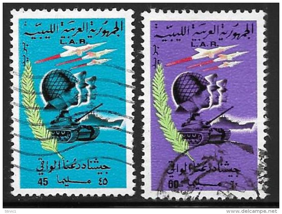 Libya, Scott # 383-4 Used Soldiers, Tanks Planes, 1970 - Libya