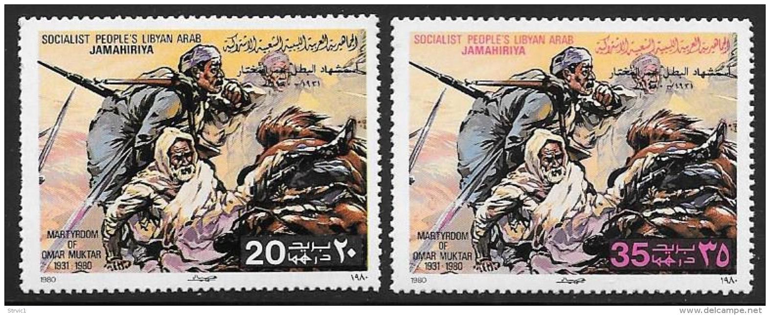 Libya, Scott # 868-70 MNH Martyrdom Of Muktar, 1980, Blunt Perfs - Libya