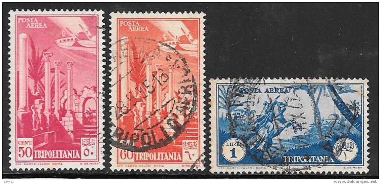 Tripolitania, Scott # C8,C9,C12 Used Columns, Horseman, 1931 - Tripolitania