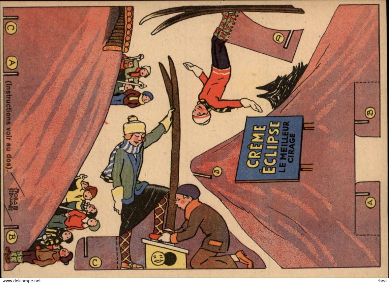PUBLICITES -  Carte à Découper - CREME ECLIPSE - Cirage - Illustrée Par EDOUARD BERNARD - Saut A Skis - Publicités