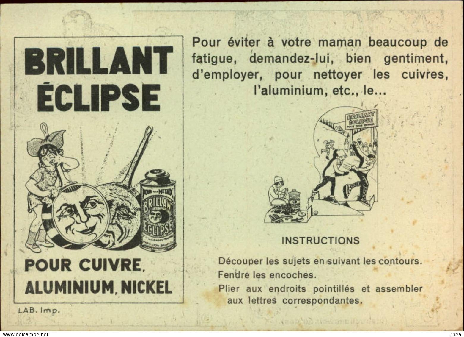 PUBLICITES -  Carte à Découper - CREME ECLIPSE - Cirage - Illustrée Par EDOUARD BERNARD - Patinage - Publicités