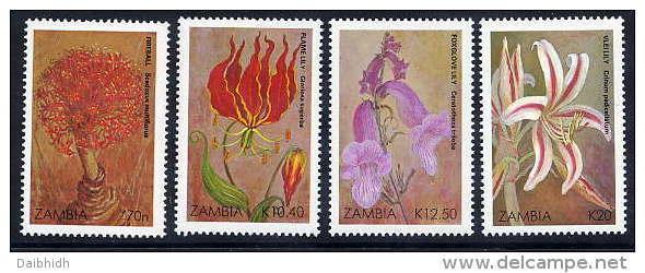 ZAMBIA 1989 Christmas: Flowers  Set Of 4  MNH / **.  SG 604-07 - Zambia (1965-...)