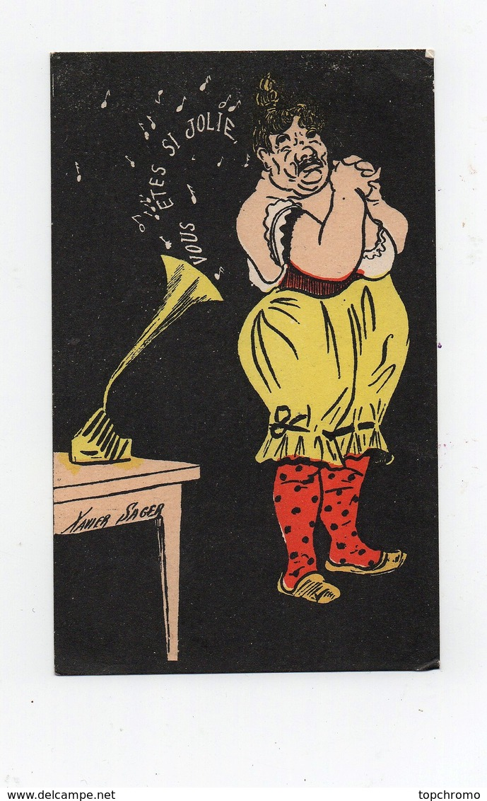 CPA Illustrateur Xavier Sager Femme Musique Gramophone Phonographe Vous êtes Si Jolie TBE - Sager, Xavier