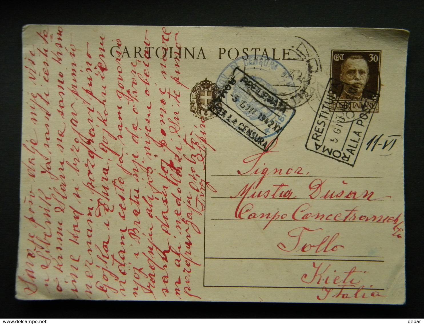 WW2 - ITALY OCCUPATION OF MONTENEGRO 1942 - PERASTO  TO TOLLO  KIETI - CENSURA ROMA - RESTITUTA  ALLA POSTA  ROMA - 9. Besetzung 2. WK (Italien)