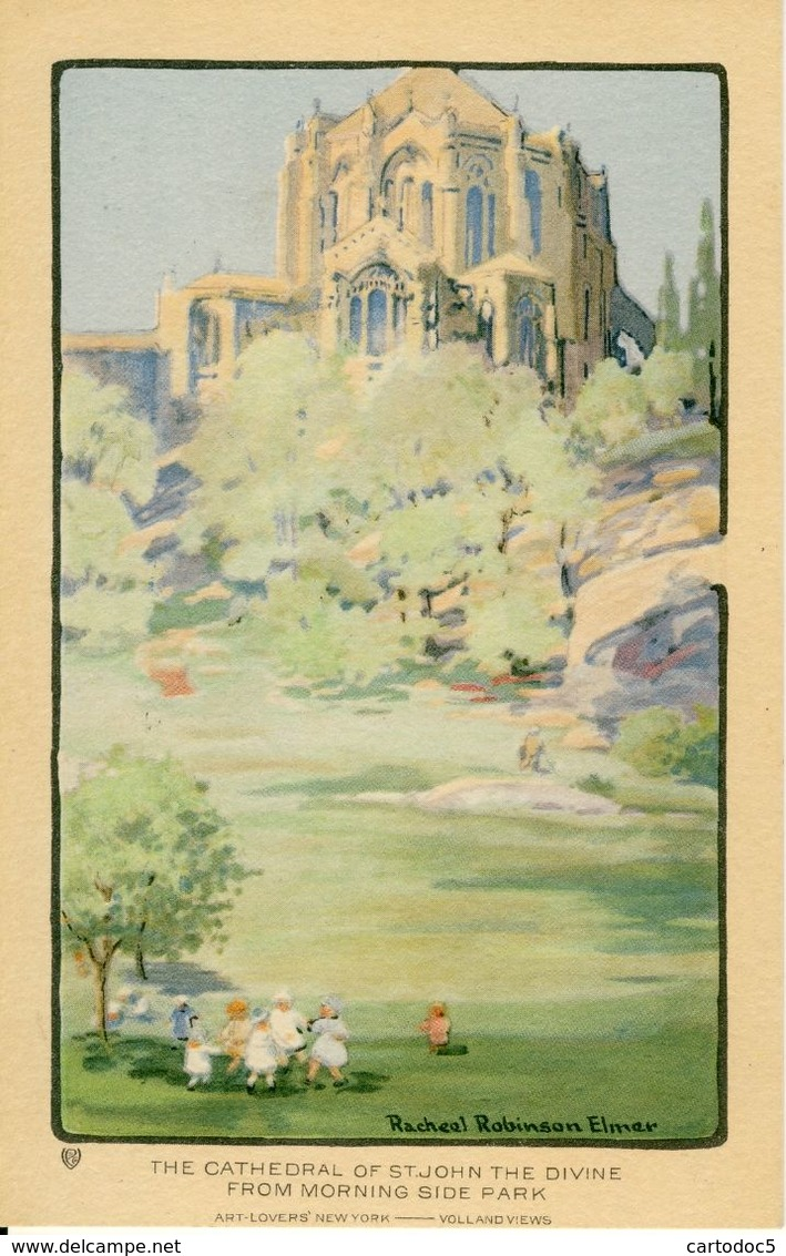 The Cathedral Of St-John The Divine From Morning Side Park  Illustrateur Racheel Robinson Elmer   Cpa - Églises