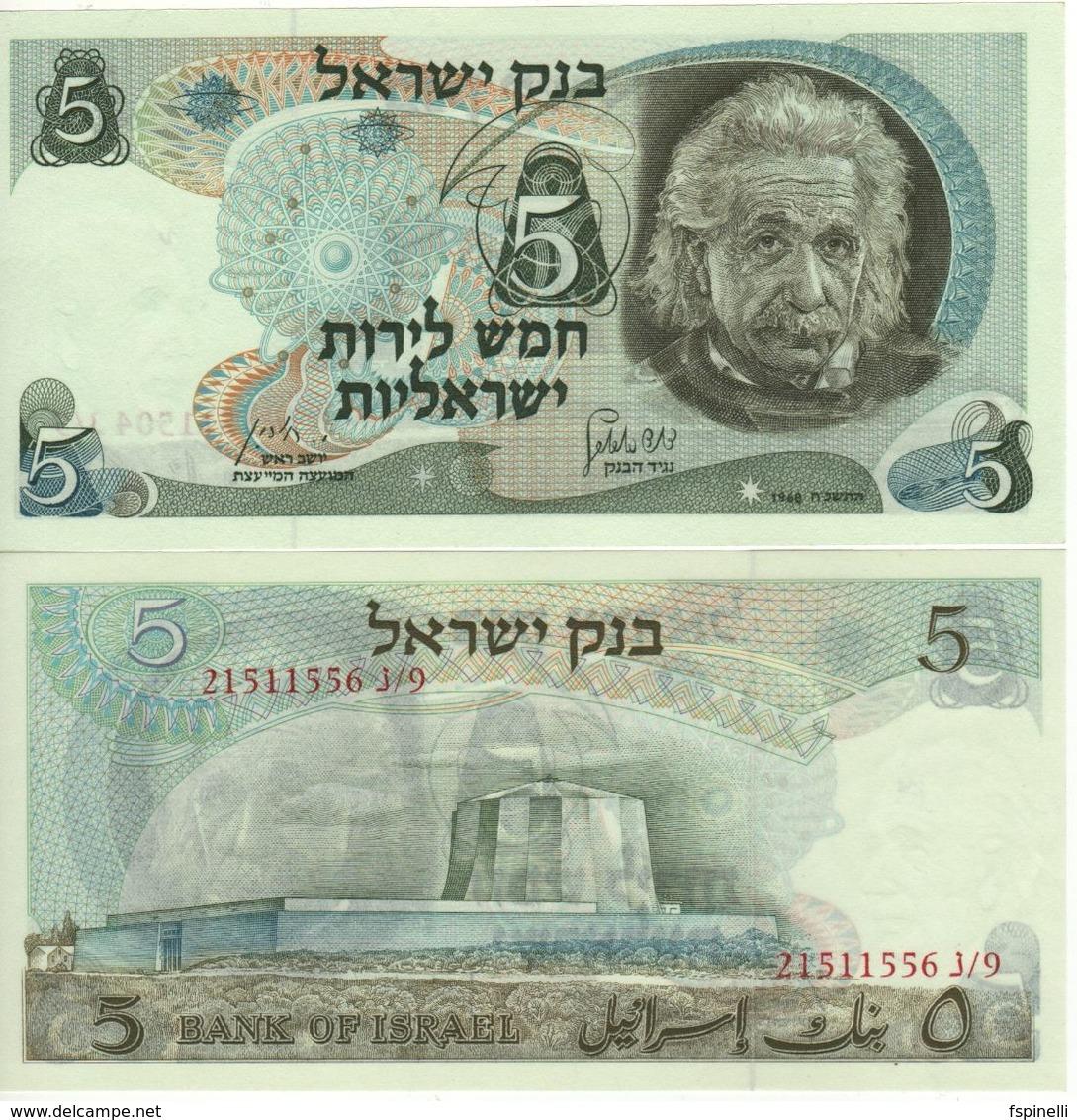 "ISRAEL  5  Lirot     P34b   "" Albert Einstein ""   1968  UNC - Israël"