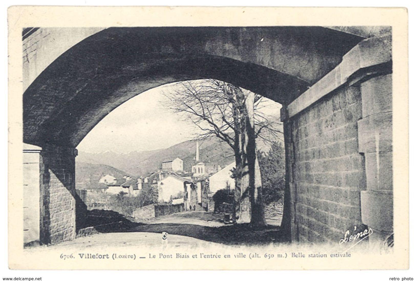 Cpa Villefort - Le Pont Biais Et L'entrée En Ville ... - Villefort