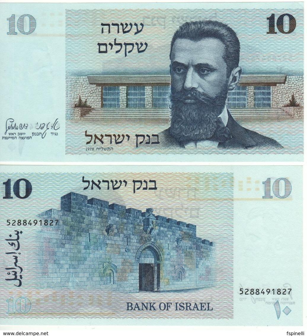 """ISRAEL  10  Sheqalim    P45   """" Dr. Theodor Herzl """"   1978    UNC - Israël"""