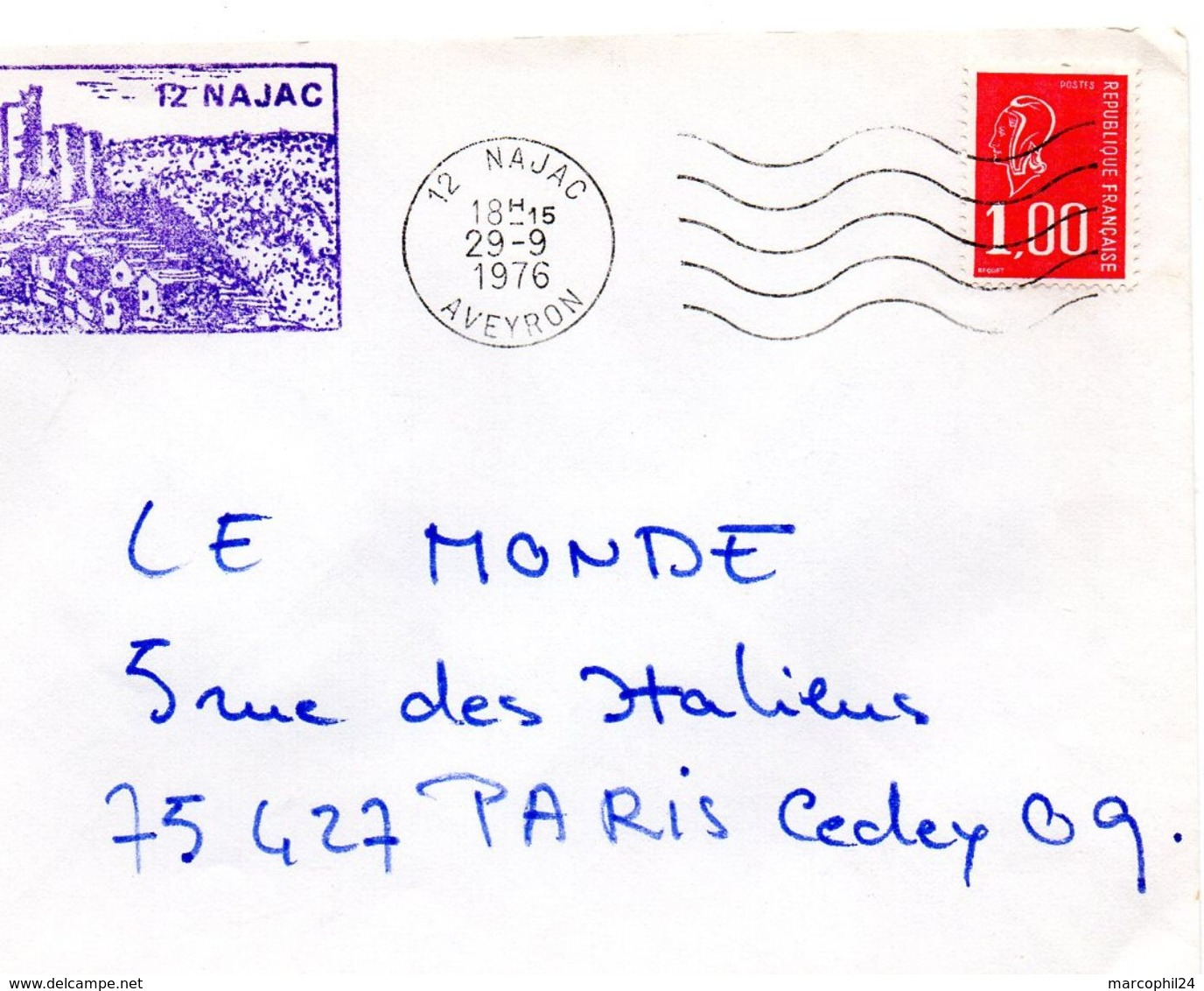 AVEYRON - Dépt N° 12 = NAJAC 1976 =  FLAMME Codée à DROITE = SECAP Muette '5 Lignes Ondulées' + TAMPON Privé Illustré - Marcophilie (Lettres)