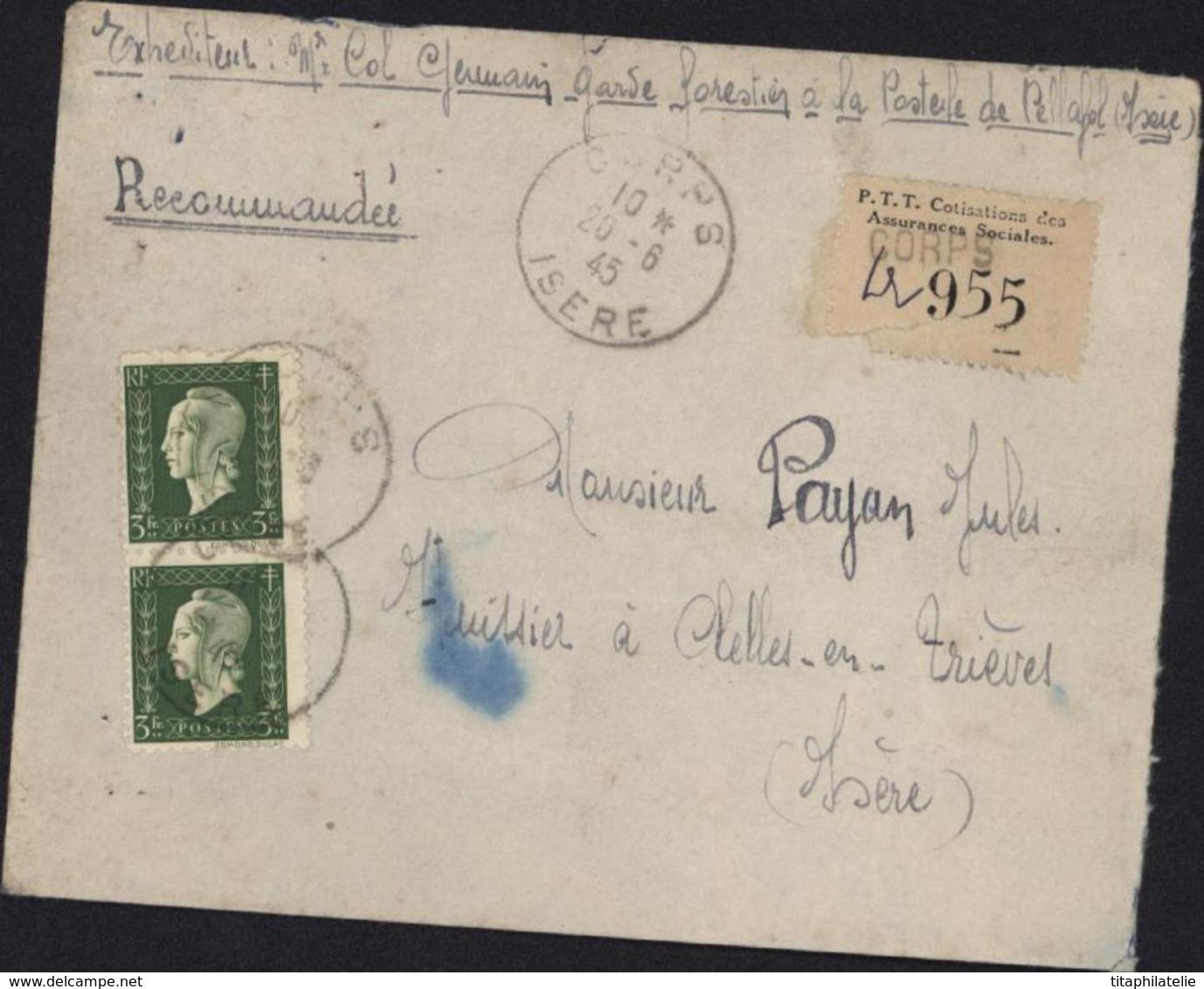 Vignette Recommandation De Fortune Vignette Cotisation Des Assurances Sociales PTT YT 694 X2 1945 Corps Isère - Unclassified