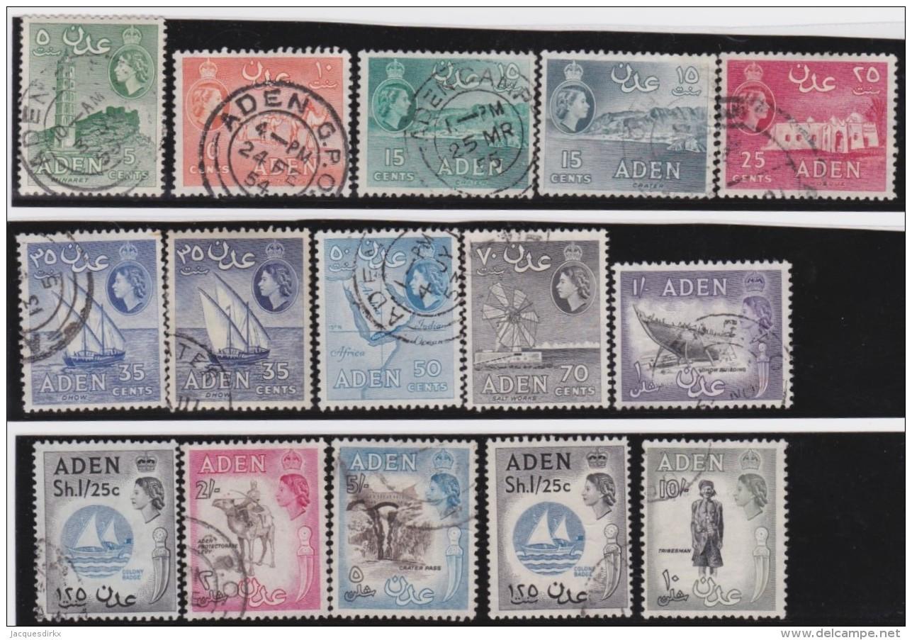 Aden      .         SG   .    15  Stamps       .       O   .      Cancelled   .   /   .   Gebruikt - Aden (1854-1963)