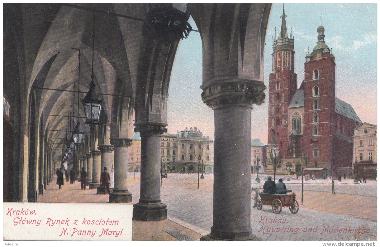 KRAKOW - Glowny Rynek Z Kosciotem N.Panny Maryi, Gel.1915, K.u.K.Stempel Tarnow, Stempel Rebica - Polen
