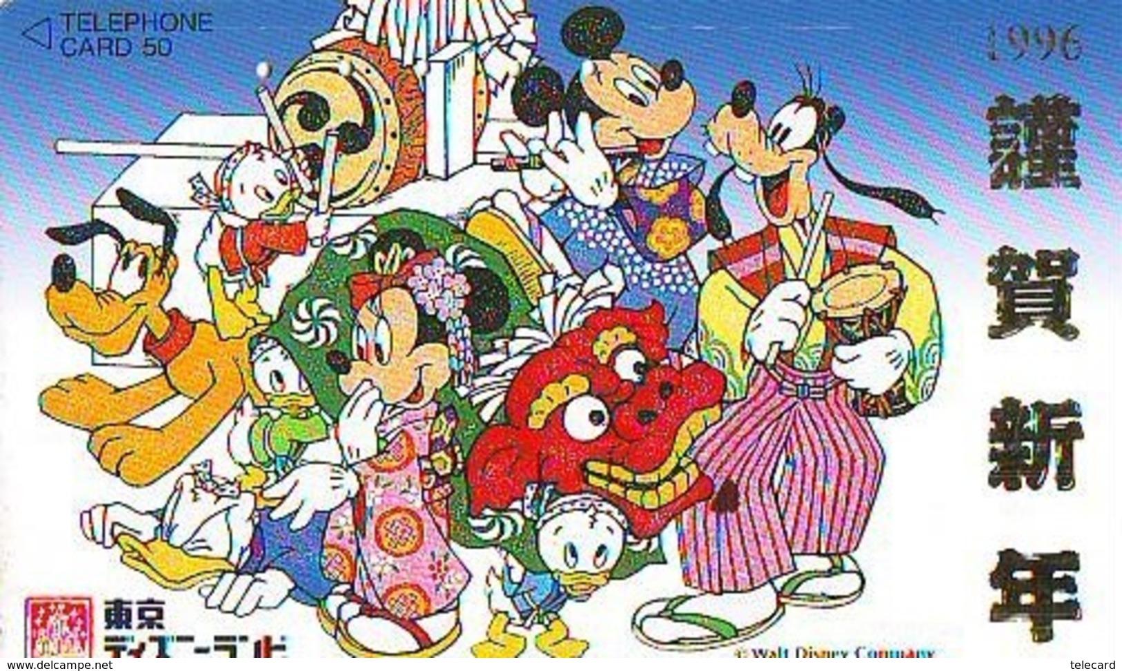 Télécarte Japon / 110-171892 - DISNEY DISNEYLAND - Mickey Minnie (6003)Tambour Musique Music Chien Dog - Japan Phonecard - Disney