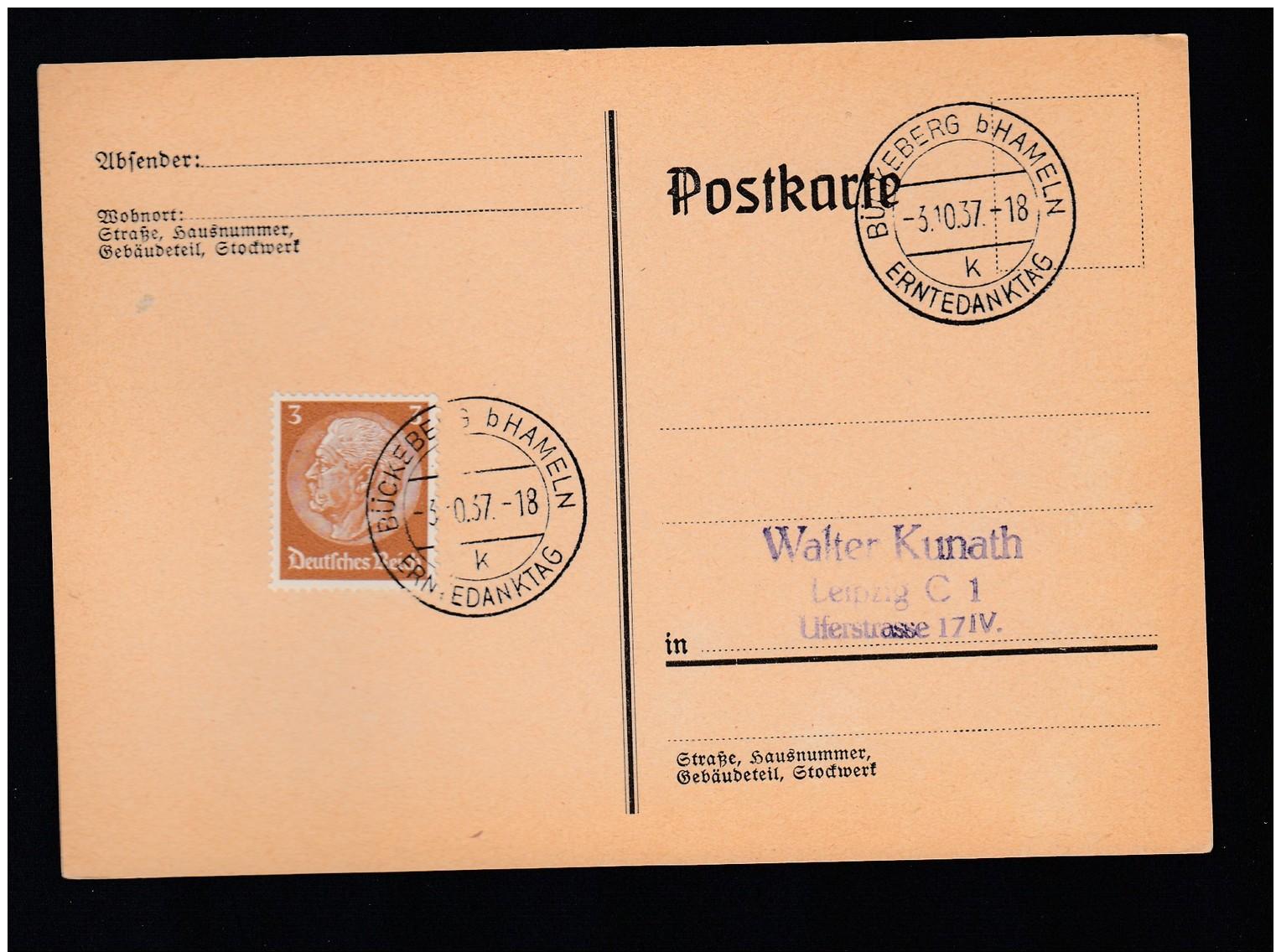 DR Postkarte Sonderstempel 1937 Bückeberg Hameln K1600 - Deutschland