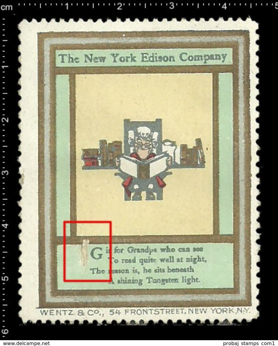 American Poster Stamp, Reklamemarke, Cinderella, The New York Edison Company, Thomas Edison, Book, Buch. - Other