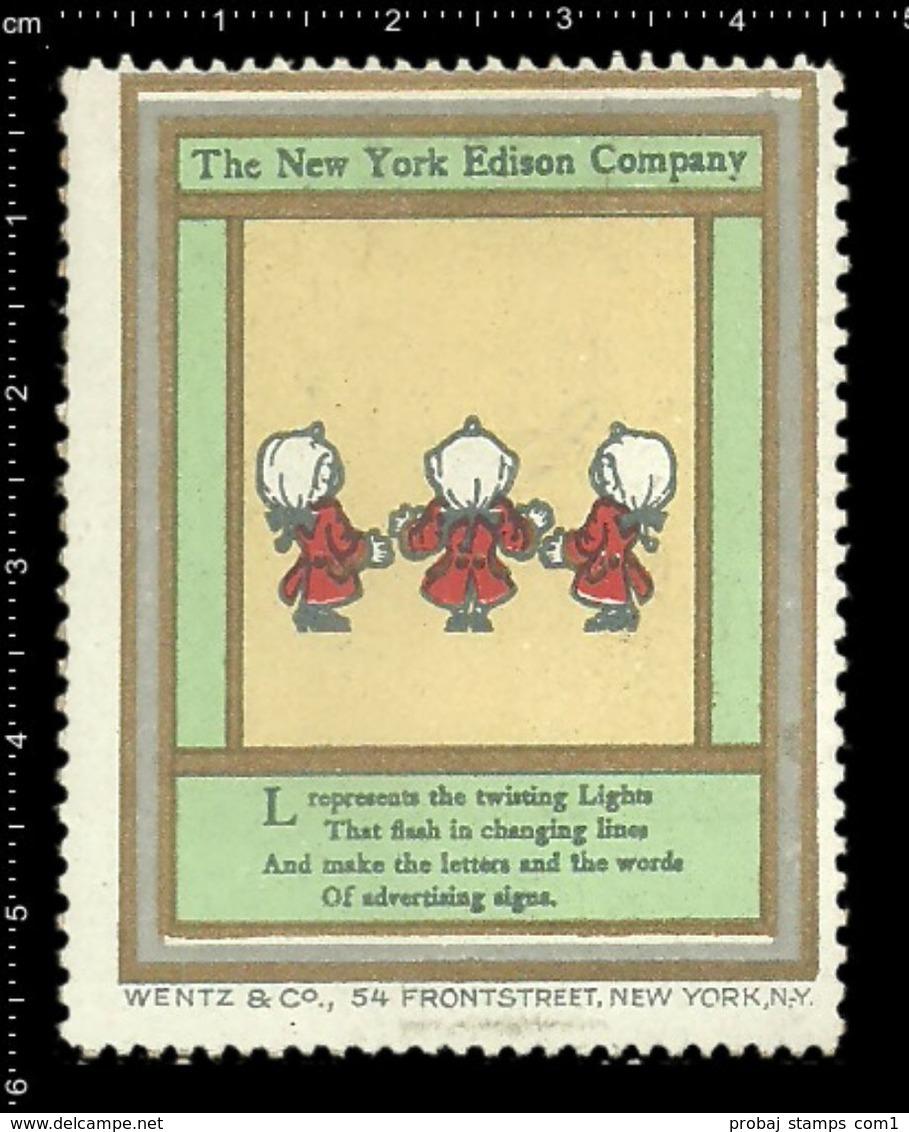 American Poster Stamp, Reklamemarke, Cinderella, The New York Edison Company, Thomas Edison. - Famous People