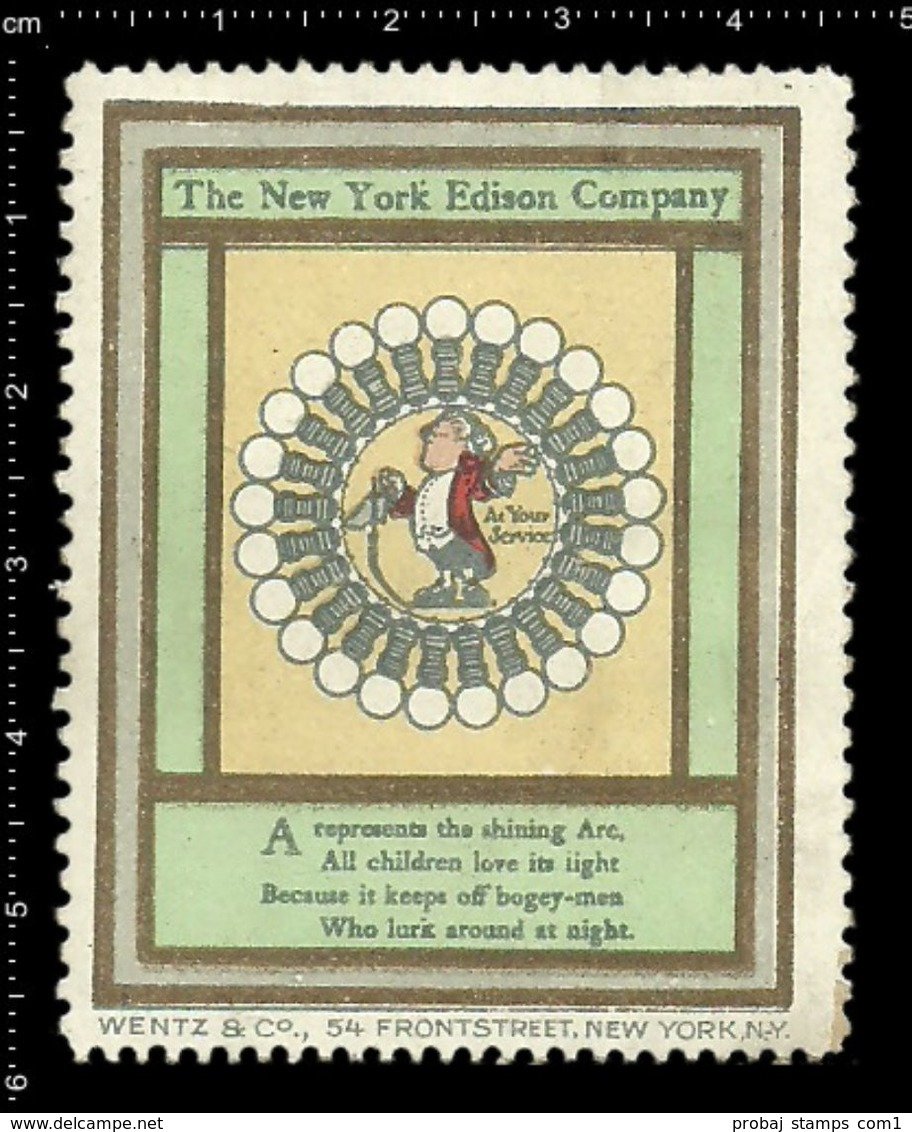 American Poster Stamp, Reklamemarke, Cinderella, The New York Edison Company, Thomas Edison, Burb, Birne. - Famous People