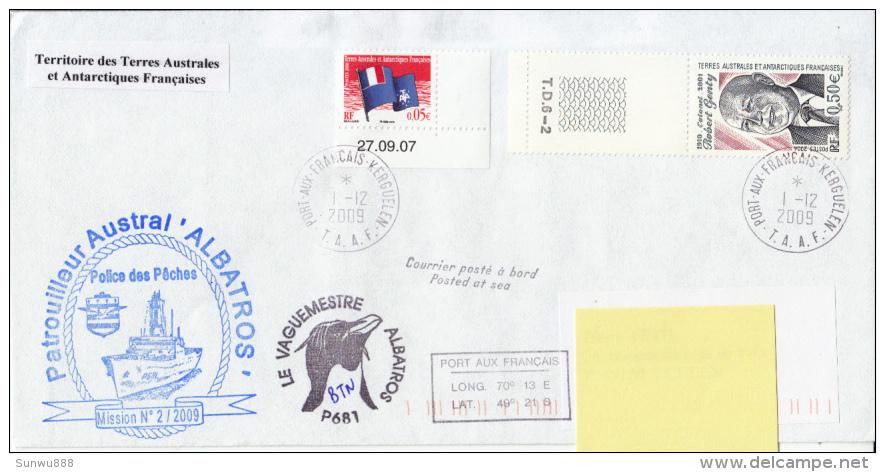 Patrouilleur Austral L'Albatros - Le Vaguemestre Courrier Posté à Bord Kerguelen 2009 - Terres Australes Et Antarctiques Françaises (TAAF)