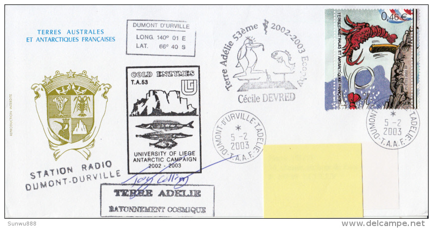 Terre Adélie Rayonnement Cosmique, Station Radio Dumont-Durville Gold Enzymes 2003 - Terres Australes Et Antarctiques Françaises (TAAF)