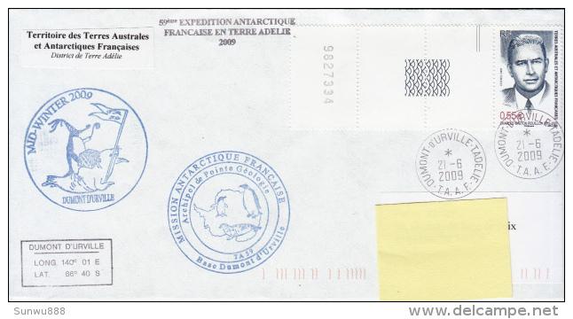 TAAF Enveloppe Dumont D'Urville - Mid Winter 2009 Avec Interpanneaux - Terres Australes Et Antarctiques Françaises (TAAF)