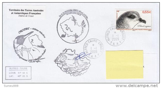 TAAF Enveloppe Alfred Faure - Crozet Ile De La Possession 2009 (Petrel Soyeux) - Autres