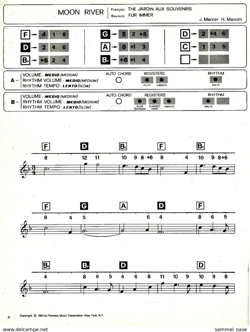 Bontempi Pops 15 Chartbusters  -  Notenheft / Notenbuch Keyboard Elektro Orgel - Varia