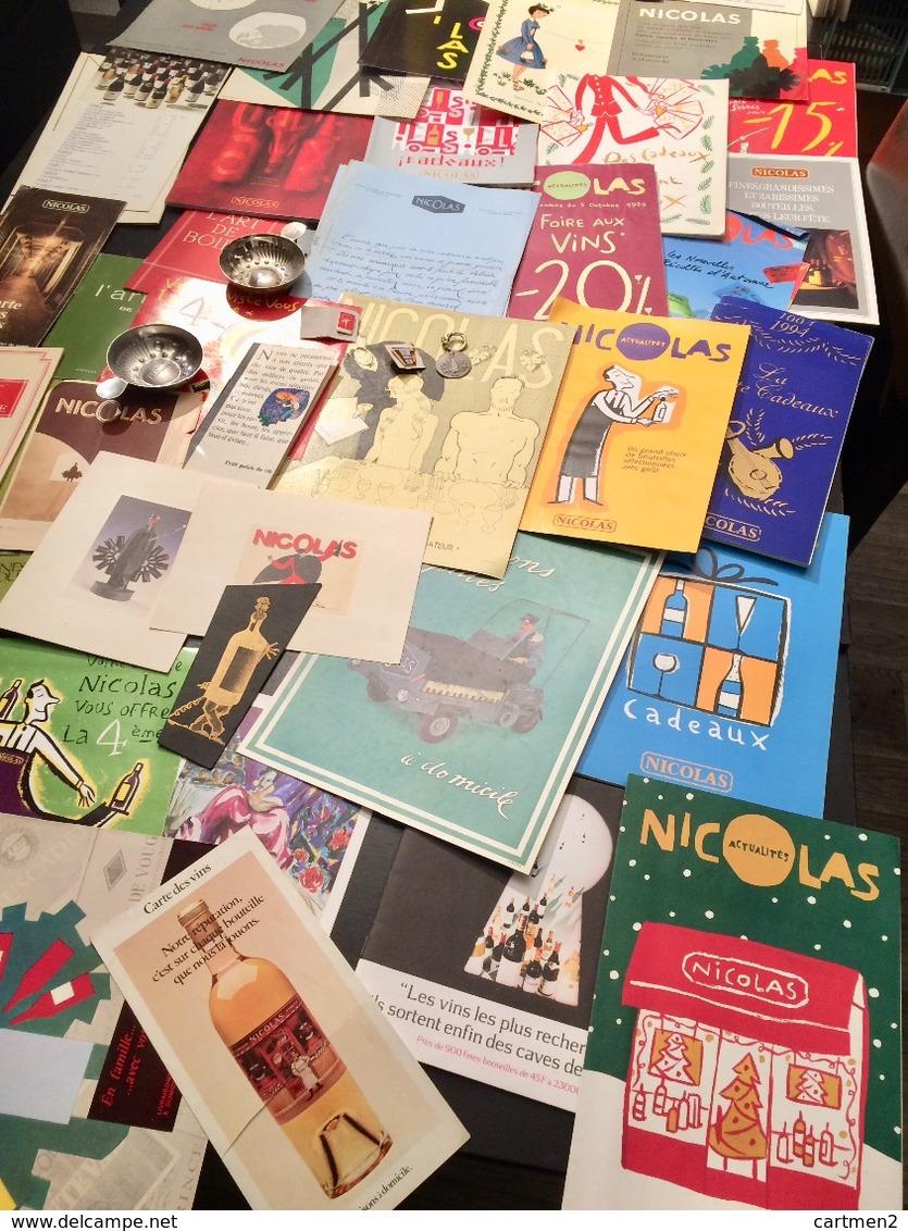 LOT DE LA MAISON DES VINS NICOLAS CATALOGUE PUBLICITE CENDRIER LIVRE TASTE-VIN MENU PINS TARIF ILLUSTRATION OENOLOGIE - Publicités
