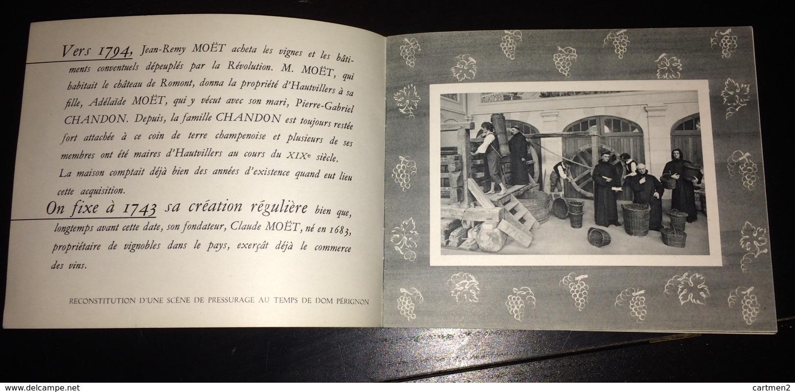 LOT PUBLICITES CHAMPAGNE MOËT-ET-CHANDON CARTE PUBLICITAIRE CARNET EPERNAY VITICULTURE VENDANGE OENOLOGIE MARNE - Champagne & Mousseux