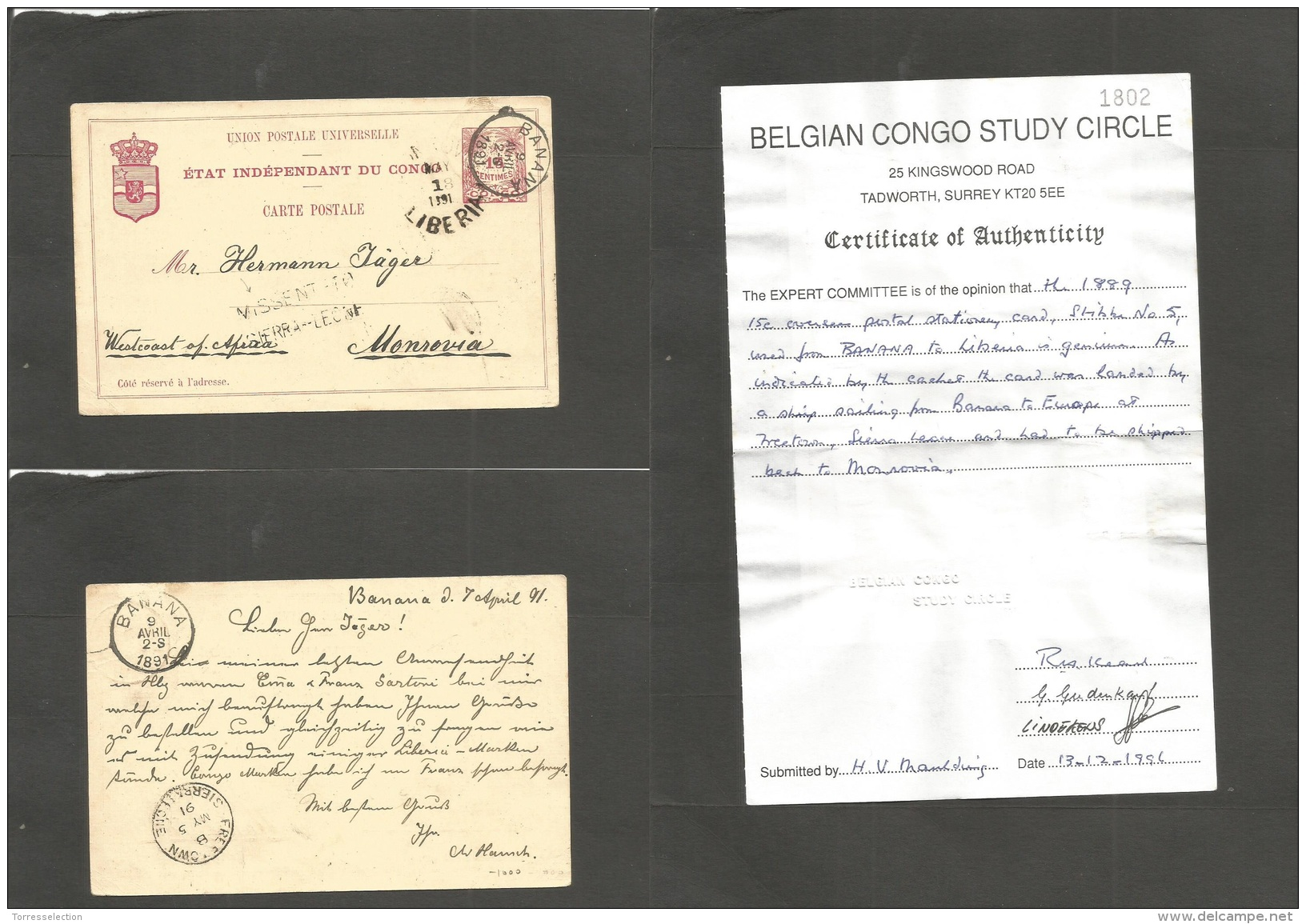 Bc - Sierra Leone. 1891 (7 April) Belgian Congo Independent State Period. Banana - Monrovia, Liberia (18 May) 15c Red St - Unclassified