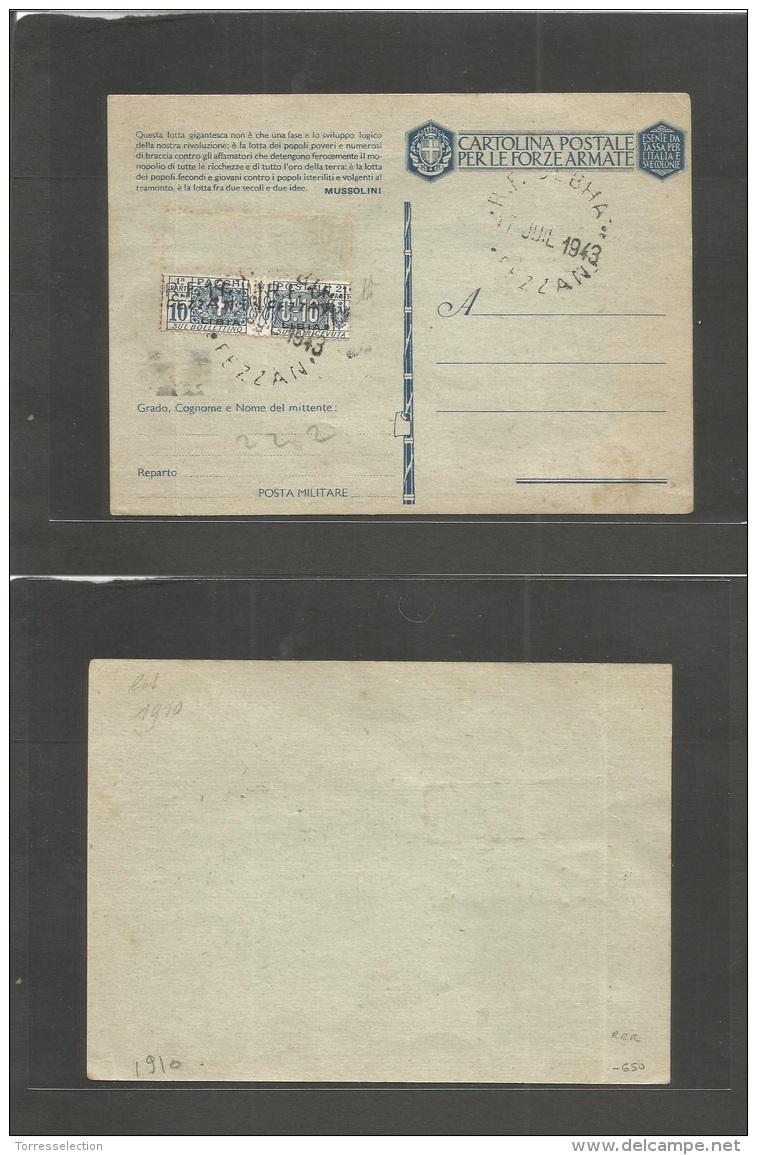 Libia. 1943 (17 July) Fezzan. RF. Sebha. Italian FM Card With Pair 10c Paashi Postale, Ovptd LIBIA Tied Large Cds. Signe - Libya