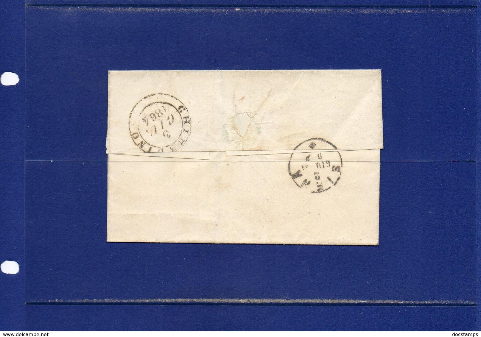##(ANT182)- 2-6-1864- Sinalunga(Siena)-  Cent 15  Su  Piego Privo Di Testo  Per  Chiusdino (Siena) - 1861-78 Vittorio Emanuele II