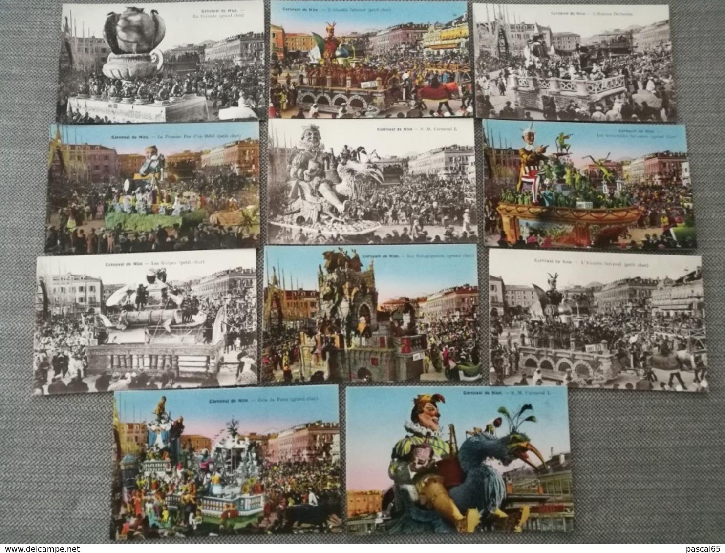 11 Cartes Postales Couleur Et Noir Et Blanc Carnaval De Nice 1875-1894 - Carnival
