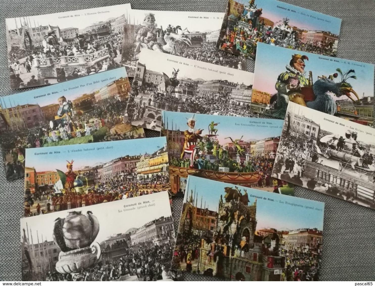 11 Cartes Postales Couleur Et Noir Et Blanc Carnaval De Nice 1875-1894 - Carnevale